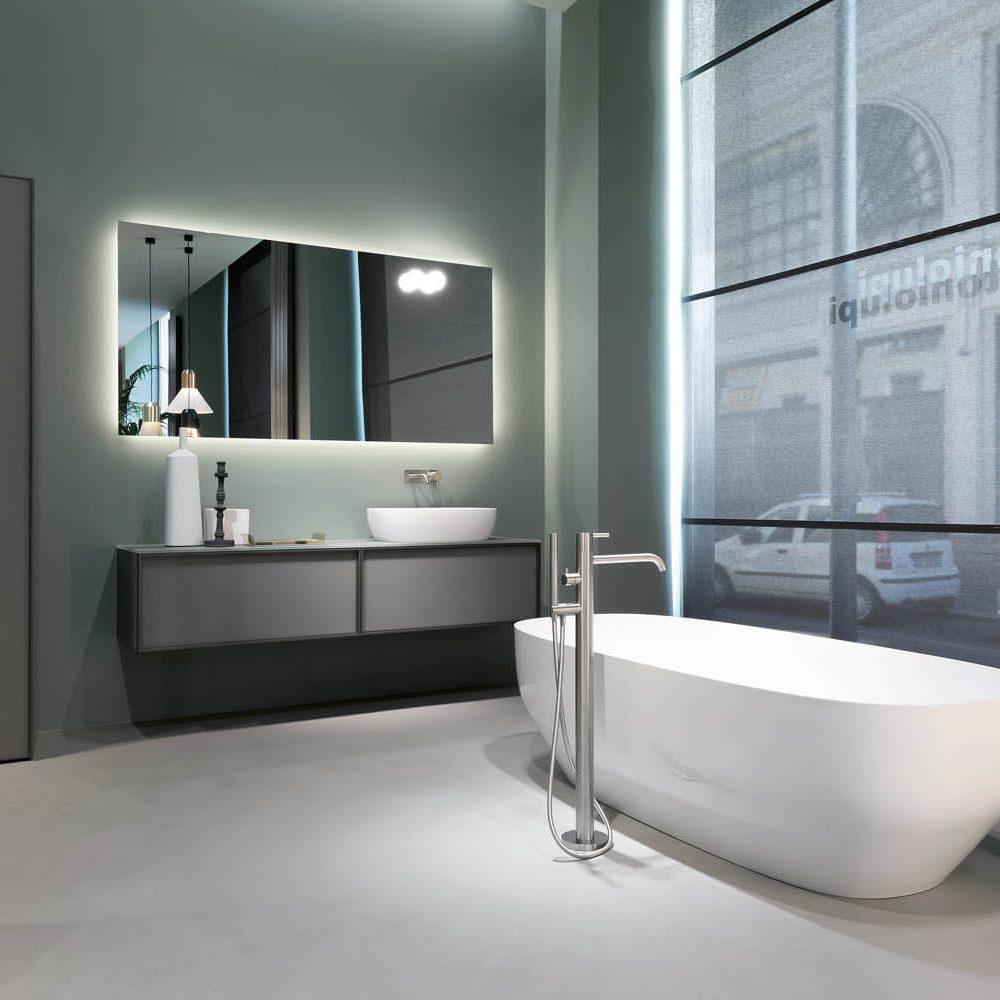 white bath in grey room