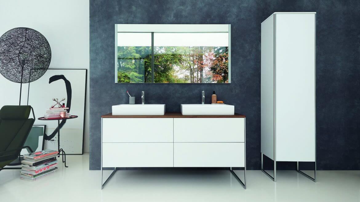 white double tap with sink on white tabletop